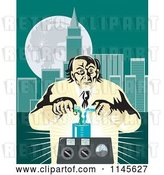 Vector Clip Art of Retro Mad Scientist Pouring Chemicals near a City by Patrimonio