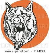 August 14th, 2018: Vector Clip Art of Retro Mad Wolf on an Orange Circle by Patrimonio