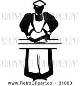 Vector Clip Art of Retro Maid Prepping Food 1 by Prawny Vintage