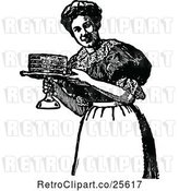 Vector Clip Art of Retro Maid Serving a Cake by Prawny Vintage