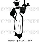 Vector Clip Art of Retro Maid Serving a Drink 1 by Prawny Vintage