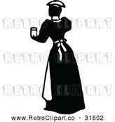 Vector Clip Art of Retro Maid Serving a Drink 2 by Prawny Vintage