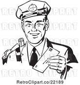 Vector Clip Art of Retro Mailman Holding a Letter by BestVector