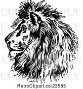 Vector Clip Art of Retro Majestic Lion Head Profile by Prawny Vintage
