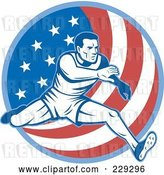 Vector Clip Art of Retro Male American Athlete Running over a Flag Circle by Patrimonio