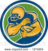 Vector Clip Art of Retro Male American Football Player Fending in a Blue White and Green Circle by Patrimonio