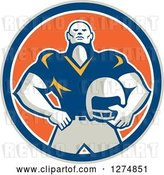 Vector Clip Art of Retro Male American Football Player Holding His Helmet in a Taupe Blue White and Orange Circle by Patrimonio