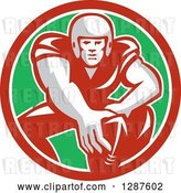 Vector Clip Art of Retro Male American Football Player in Snap Position in a Red White and Green Circle by Patrimonio