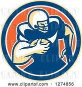 Vector Clip Art of Retro Male American Football Player Rushing in a Yellow Blue White and Orange Circle by Patrimonio