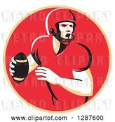 Vector Clip Art of Retro Male American Football Player Shouting and Passing the Ball in a Pastel Orange and Red Circle by Patrimonio