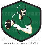 Vector Clip Art of Retro Male American Football Player Throwing in a Black and Green Shield by Patrimonio