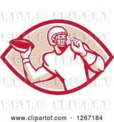 Vector Clip Art of Retro Male American Football Player Throwing in a Red White and Tan Oval by Patrimonio
