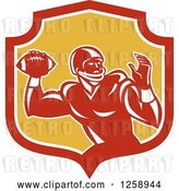 Vector Clip Art of Retro Male American Football Player Throwing in a Red White and Yellow Shield by Patrimonio
