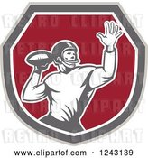 Vector Clip Art of Retro Male American Football Player Throwing in a Shield by Patrimonio