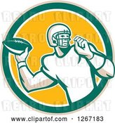 Vector Clip Art of Retro Male American Football Player Throwing in a Tan Green White and Yellow Circle by Patrimonio