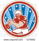 Vector Clip Art of Retro Male American Football Player Throwing in a Tan White Red and Blue Star Circle by Patrimonio