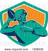 Vector Clip Art of Retro Male American Football Player Throwing in a Turquoise White and Orange Shield by Patrimonio