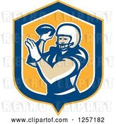 Vector Clip Art of Retro Male American Football Player Throwing in a Yellow Blue and White Shield by Patrimonio