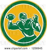 Vector Clip Art of Retro Male American Football Player Throwing in a Yellow White and Green Circle by Patrimonio
