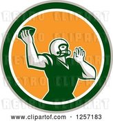 Vector Clip Art of Retro Male American Football Player Throwing in a Yellow White Tan and Green Circle by Patrimonio