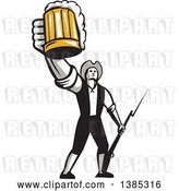 Vector Clip Art of Retro Male American Patriot Toasting with a Beer Mug and Holding a Bayonet by Patrimonio