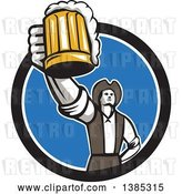 Vector Clip Art of Retro Male American Patriot Toasting with a Beer Mug in a Black White and Blue Circle by Patrimonio