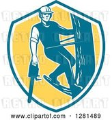 Vector Clip Art of Retro Male Arborist Climbing a Pole with a Chainsaw in a Blue White and Yellow Shield by Patrimonio