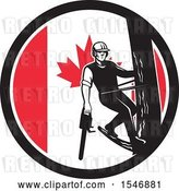 Vector Clip Art of Retro Male Arborist Climbing a Pole with a Chainsaw in a Canadian Flag Circle by Patrimonio