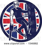 Vector Clip Art of Retro Male Arborist Climbing a Pole with a Chainsaw in a Union Jack Flag Circle by Patrimonio