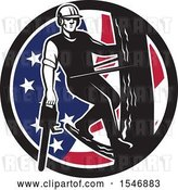 Vector Clip Art of Retro Male Arborist Climbing a Pole with a Chainsaw in an American Flag Circle by Patrimonio