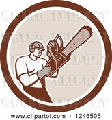 Vector Clip Art of Retro Male Arborist Operating a Chainsaw in a Circle by Patrimonio