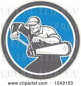 Vector Clip Art of Retro Male Arborist Starting up a Chainsaw in a Blue Circle by Patrimonio