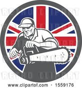 Vector Clip Art of Retro Male Arborist Starting up a Chainsaw in a British Flag Circle by Patrimonio