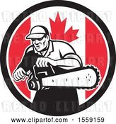Vector Clip Art of Retro Male Arborist Starting up a Chainsaw in a Canadian Flag Circle by Patrimonio