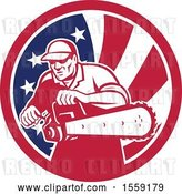 Vector Clip Art of Retro Male Arborist Starting up a Chainsaw in an American Flag Circle by Patrimonio