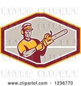 Vector Clip Art of Retro Male Arborist Using a Chain Saw in an Octagon by Patrimonio