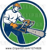 Vector Clip Art of Retro Male Arborist Using a Chainsaw in a Blue White and Green Circle by Patrimonio