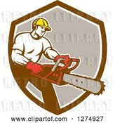 Vector Clip Art of Retro Male Arborist Using a Chainsaw in a Brown White and Taupe Shield by Patrimonio