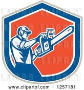 Vector Clip Art of Retro Male Arborist Using a Chainsaw in a Gray White Blue and Orange Shield by Patrimonio