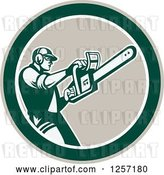 Vector Clip Art of Retro Male Arborist Using a Chainsaw in a Taupe White and Green Circle by Patrimonio