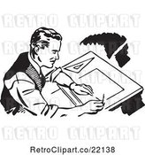 Vector Clip Art of Retro Male Architect Drafting by BestVector
