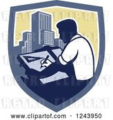 Vector Clip Art of Retro Male Architect Drawing Plans over Skyscrapers in a Shield by Patrimonio