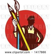 Vector Clip Art of Retro Male Artist Holding a Giant Pencil and Paintbrush in a Red Circle by Patrimonio