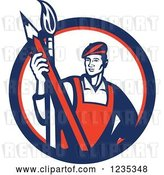 Vector Clip Art of Retro Male Artist with a Paintbrush and a Pencil in a White Red and Blue Circle by Patrimonio