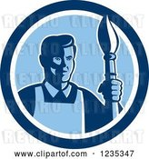 Vector Clip Art of Retro Male Artist with a Paintbrush in a Blue Circle by Patrimonio