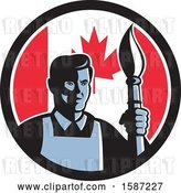 Vector Clip Art of Retro Male Artist with a Paintbrush in a Canadian Flag Circle by Patrimonio