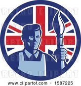 Vector Clip Art of Retro Male Artist with a Paintbrush in a Union Jack Flag Circle by Patrimonio