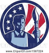 Vector Clip Art of Retro Male Artist with a Paintbrush in an American Flag Circle by Patrimonio