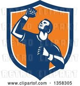 Vector Clip Art of Retro Male Athlete Doing a Fist Pump in a Blue White and Orange Shield by Patrimonio