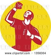 Vector Clip Art of Retro Male Athlete Doing a Fist Pump in a Yellow Circle by Patrimonio